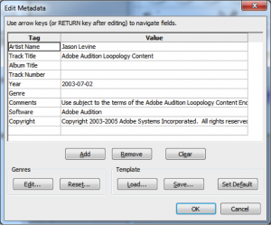 Figure 5.32 Prompt for metadata to be stored in header of uncompressed WAV file