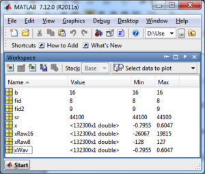 Figure 5.34 Values of variables after reading in audio files in MATLAB