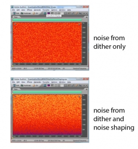 Figure 5.43 Spectral view of noise from dithering and noise from dithering with noise shaping (quantization noise included)