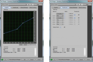 Figure 7.14 Dynamics processing in Adobe Audition, downward and upward compression