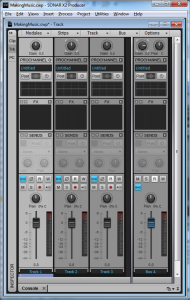 Figure 7.21 Console view (mixing view) in Cakewalk Sonar
