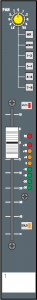 Figure 7.27 Fader and routing section of an input channel strip