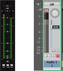 Figure 7.29 PPM meters on a hardware mixing console and in a software DAW