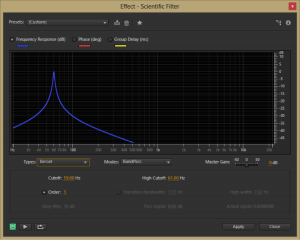 Figure 7.2 Bessel scientific filter from Adobe Audition