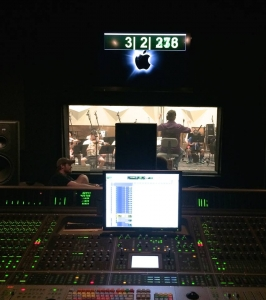 Figure 8.14 A view from the mixing console during a recording session for a film score